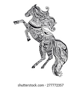Greeting Beautiful card with horsel. Frame of horse made in vector. Perfect cards, or for any other kind of design, birthday and other holiday. Seamless hand drawn map with horsel.