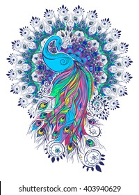 Greeting Beautiful card with peacock Peacock made in vector Color bird for the design of textiles, clothing, T-shirts, wallpaper, print, wall stickers, print Peacock ethnic, east orient ornament
