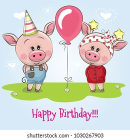 Greeting birthday card with cute Pigs boy and girl