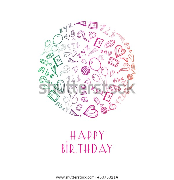 Enjoyable Greeting Birthday Card School Objects Circle Stock Vector Royalty Personalised Birthday Cards Paralily Jamesorg