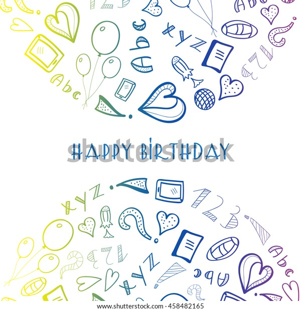Astonishing Greeting Birthday Card School Objects Two Stock Vector Royalty Funny Birthday Cards Online Alyptdamsfinfo