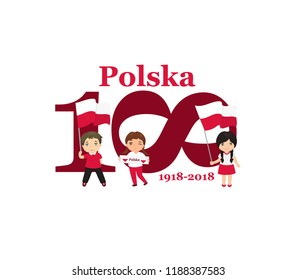 Greeting Card 100 anniversary of the independence of Poland . November 11th Kids logo. Text in Polish: Poland 1918-2018