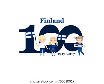 Greeting Card 100 anniversary of the independence of Finland. December 6th Kids logo
