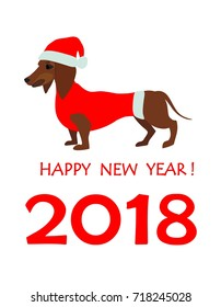 Greeting card for 2018 New year with dachshund in Santa hat
