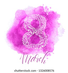 Greeting card 8 March with pink watercolored background
