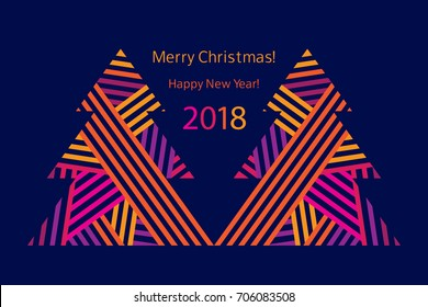 Greeting card with abstract Christmas trees. Happy New Year 2018. Vector.