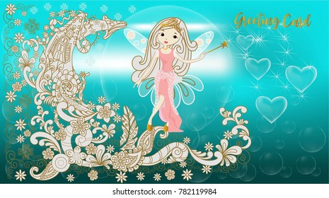 Greeting Card with angle in fairy tale on beautiful background ,vector illustration