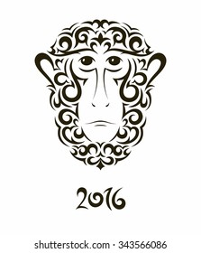 Greeting card with baboon monkey - symbol of the New Year 2016. EPS10 vector illustration.