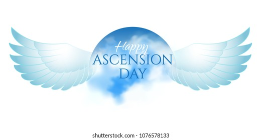 Greeting card or banner to Ascension day of Jesus Christ. Catholics and Anglican Christians Religious culture holiday. Isolated on white. Perfect to use in advertising or web design and other projects
