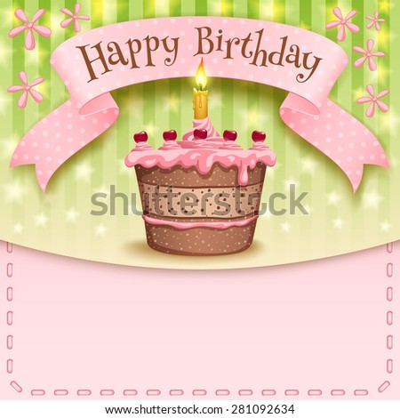 Greeting Card With A Banner And Birthday Cake Candles