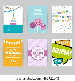 Greeting card banner, birthday, invitation card. Confetti, heart, star, peace, balloon, party, hello. Vector illustration easy editable for design.