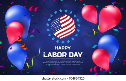 Greeting card or banner in horizontal orientation to Happy Labor Day with balloons and American flag. Vector illustration on dark blue background
