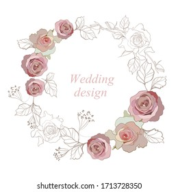 Greeting card with a beautiful wedding wreath of lilac and pink roses on a white background