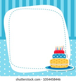 Greeting card with birhday cake. Vector background.