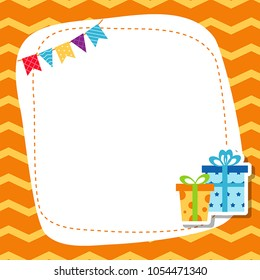 Greeting card with birhday gift. Vector background.