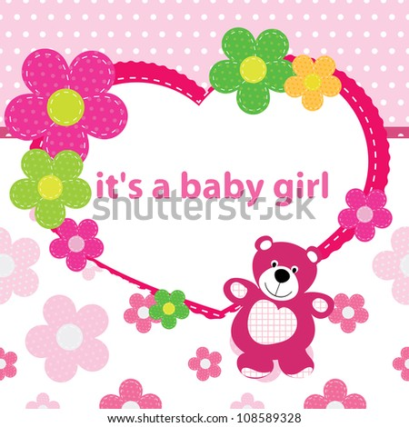 Greeting card birth baby girl stock vector royalty free 108589328 greeting card with the birth of a baby girl m4hsunfo