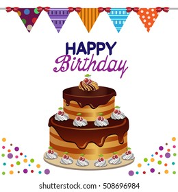 greeting card to birthday with cake and flags