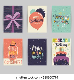 Greeting card, birthday, childbirth, invitation card. Baby, confetti, heart, star, peace, party, hello. Vector illustration easy editable for design.