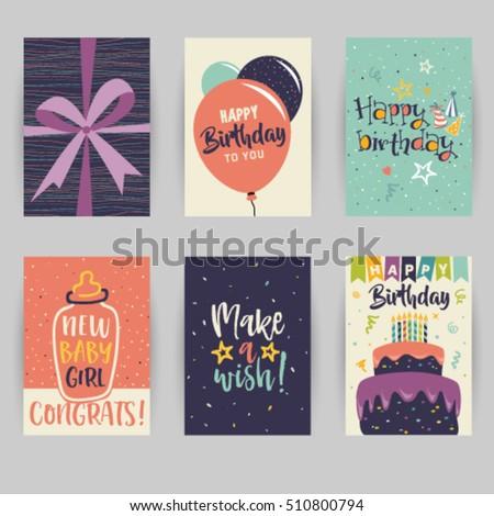 Greeting Card Birthday Childbirth Invitation Card Stock Vector