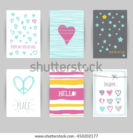 Greeting Card Birthday Invitation Confetti Heart Star Peace Hello Vector Illustration Easy Editable Foe Design