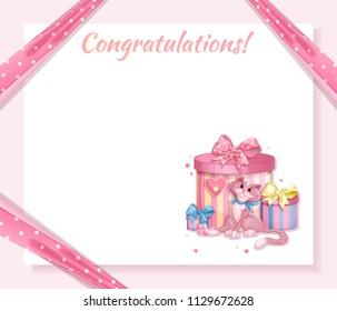 Greeting card for the birthday of the little princess. Pink background, pink ribbon in polka-dot holds corners of a paper sheet, a cat with gift boxes. Vector cartoon template.