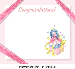 Greeting card for the birthday of the little princess. Pink background, pink ribbon in polka-dot holds corners of a paper sheet, a princess is sitting on the gift box.. Vector cartoon template.
