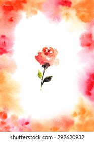 Greeting card. Birthday card. Wedding invitation with rose. Watercolor background.