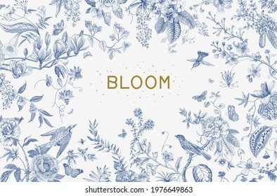 Greeting card. Bloom. Chinoiserie. Horizontal frame. Vintage floral illustration. Blue and white