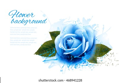 Greeting card with blue rose. Vector