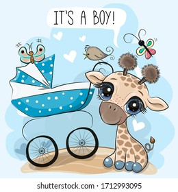 Greeting card its a boy with baby carriage and Cute Giraffe