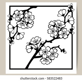 Greeting card with a branch of cherry blossoms. Vector illustration.