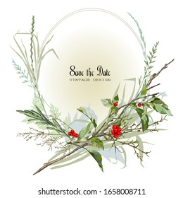 Greeting card with branches, grass and red berries. Vector illustration.