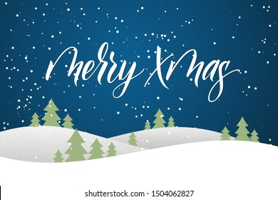 Greeting card with brush calligraphy Merry Xmas on blue background with winter landscape. Vector illustration