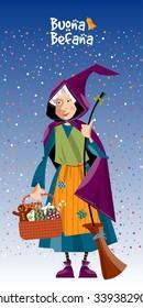 Greeting card. Buona Befana (Happy Epiphany). Italian Christmas tradition. Vector illustration.