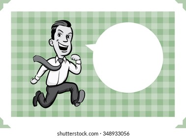 Greeting card with businessman running - just add your text