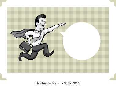 Greeting card with businessman running like a superhero - just add your text
