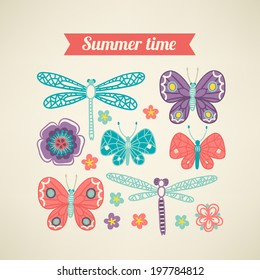Greeting card with butterflies and dragonflies