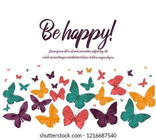 Greeting card. Butterfly pink purple yellow on white background. Vector illustration. card happy birthday, invitation card. flyer banner .Background template. hand drawing