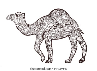 Greeting card with camel. Ornamemtal of animal made in vector. Perfect cards, or for any other kind of design, birthday and other holiday. Seamless hand drawn map with camel desert.
