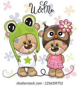 Greeting card Cartoon Bears boy and girl on a flowers background