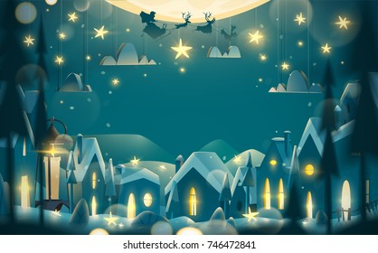 Greeting card in cartoon style. Winter night with flying Santa Claus on the sledge.