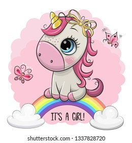 Greeting Card Cartoon Cartoon Unicorn is on the rainbow