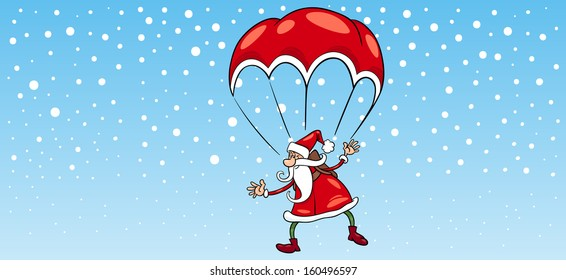 Greeting Card Cartoon Vector Illustration of Santa Claus Flying on Parachute for Christmas