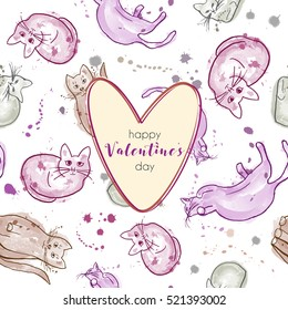 Greeting card with cats, soft colors with spots. Happy Valentine's day