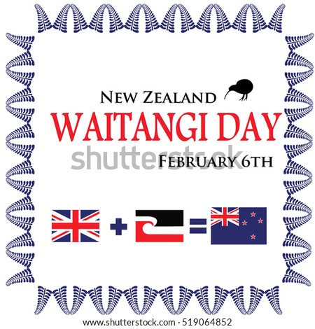 Greeting Card Celebrate Waitangi Day New Stock Vector Royalty Free