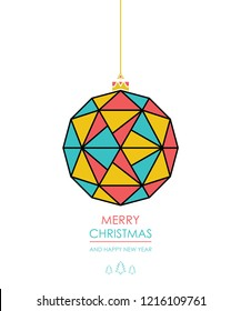 Greeting card with Christmas ball with a pattern of triangles. vector.