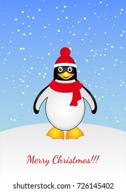 Greeting card with Christmas and a cartoon penguin on a snowy background.