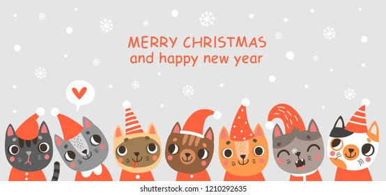 Greeting card Christmas cats
