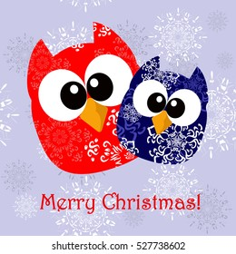 Greeting card for Christmas with funny owls. It can be used as a greeting or Christmas card game for mobile applications, games and website