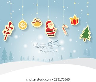 Greeting card, Christmas and new year card with Santa Claus ,vector and illustration can be use for wallpaper, background, backdrop
